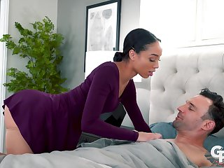 Sex-starved stewardess Alexis Tae gives a rimjob and blowjob to will not hear of lover