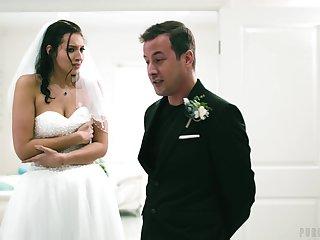 Wedding day banging for beautiful brunette link up Bella Rolland