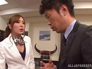 Hardcore bonking between a boss and pretty penman Rin Sakuragi