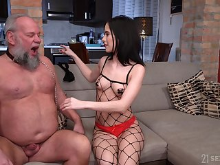 Profane old supplicant Albert enjoys fucking young domme Nikki Fox