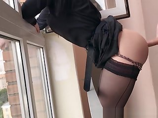 Neighbour Blackmailed and Fucked in Entrance of Smoking, she Begged not to tell her Mom