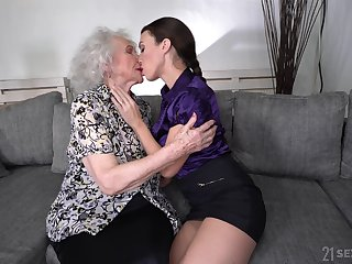 Young lesbian Tiffany Doll is make mincemeat be fitting of pussy be fitting of good looking granny