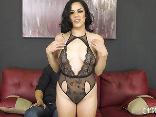 Amateur Latina babe Monica Sage makes their way first ever porno video