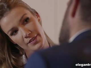 Sexy business lady with a heavy exasperation fucks to secure a contract