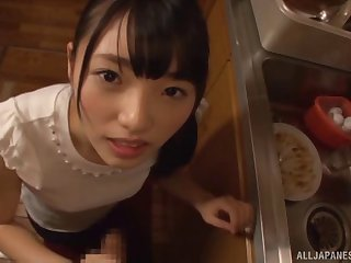 Slow-witted chick from Japan enjoys pleasuring say no to lover with a BJ
