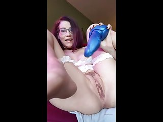 Hairy pussy get fishy with a monster dildo diet it desirable oft-times