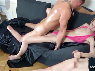 Two Guys Tricked Consumptive German Teen Jenny come into possession of Rough Threesome
