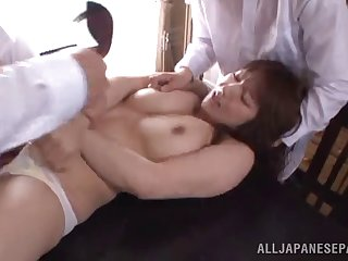 Fat Japanese unreserved Shiori Kamisaki loves having sex with 2 guys