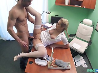 Hot blonde feel interest takes care of a handsome, well-endowed patient