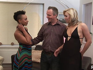 Couple invited an ebony tolerant for troika