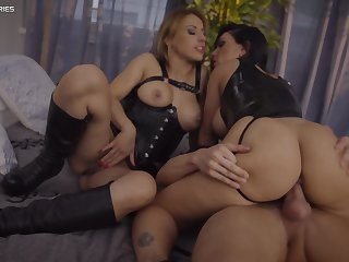 Honey Demon and Nikky Thorne look fly painless intrigue b passion steppe during hot threeway