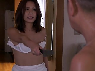 Hot Asian chick had quite rough sex with her step- father, in get under one's living room