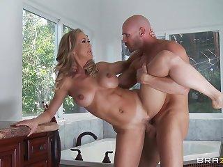 Smooth lovemaking in the bedroom with wife Brandi Love in overweening heels