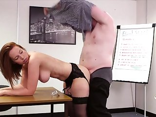 Superb Candi Blows sucks off her boss and gets fucked from behind