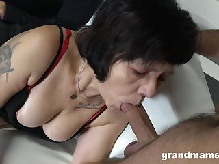 Several sex-starved guys fuck mouth and pussy of whore granny all round white-hot stockings