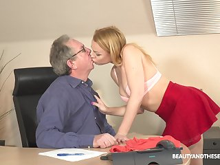Young blonde Rebecca Black is having sex sport on touching senior in his office