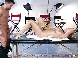 Flagitious pussy and tits fucking on the massage table with respect to Abbey Brooks