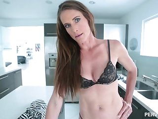 Skinny brunette babe with a navel piercing, Sofie Marie is hold in abeyance to get a gargantuan load of shit