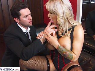 Busty blonde MILF forth black tights Alyssa Lynn feels right riding cock