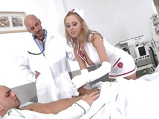 Mandy Dee - Sexy Busty Nurse Administers DP