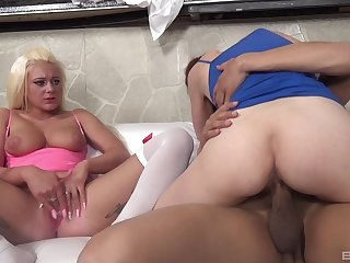 Energized sluts share a black dong in frightening moments
