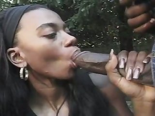 That's a nice juicy ass dick and this off colour black babe blows like a pro
