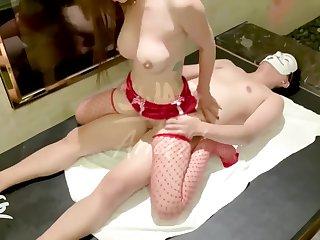 Ariel big bowels amateur red stockings fishnet