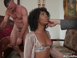 Sexy ebony model Misty Stone drops on her knees for 2 white dicks