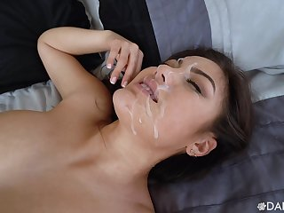 Asian cutie rides it in reverse  be beneficial to a magical facial in the end