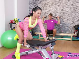 Deep pussy and ass fucking in the gym with Asian floozy Jureka Del Mar