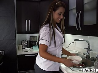 Dirty maid Sofia takes some money to get fucked balls deep
