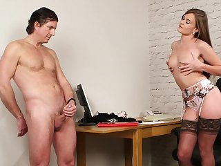 Aroused beauty dazzles fro erotic CFNM tryout