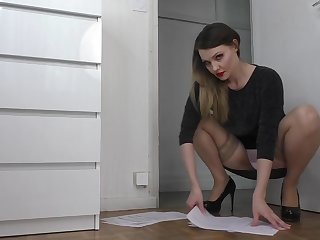 Sheer Panties Upskirt Tease In Tan Stockings With the addition of Heels