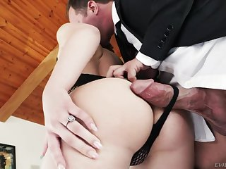 Pale naughty nympho Joseline Kelly gives handjob and goes moronic being anal fucked hard