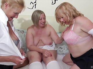 Horrific lesbian threesome with mature Trisha and her run off friends
